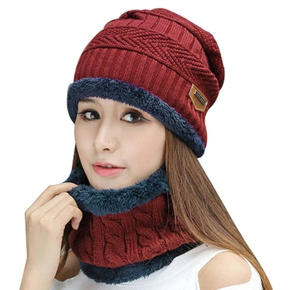 Unisex Winter Beanie Hat with Neck Warmer c02a64642980